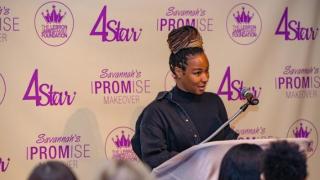 Savannah James speaks during the annual I-PROMise event at the Akron-Fairlawn Hilton. Photo courtesy of Ohio.com.