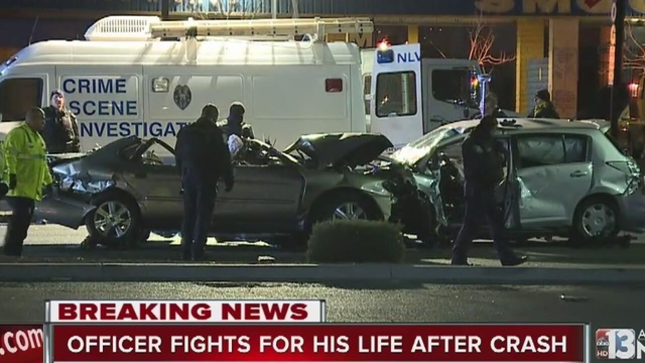 NLVPD officer injured in crash near MLK, Carey