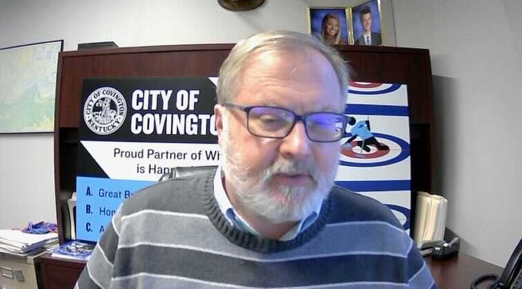 Covington City Manager David Johnston speaks with WCPO on video conference, Jan. 28, 2021.