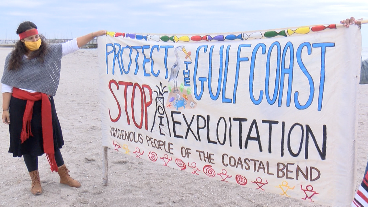 Indigenous People of the Coastal Bend prepare to walk along the Bayfront together.