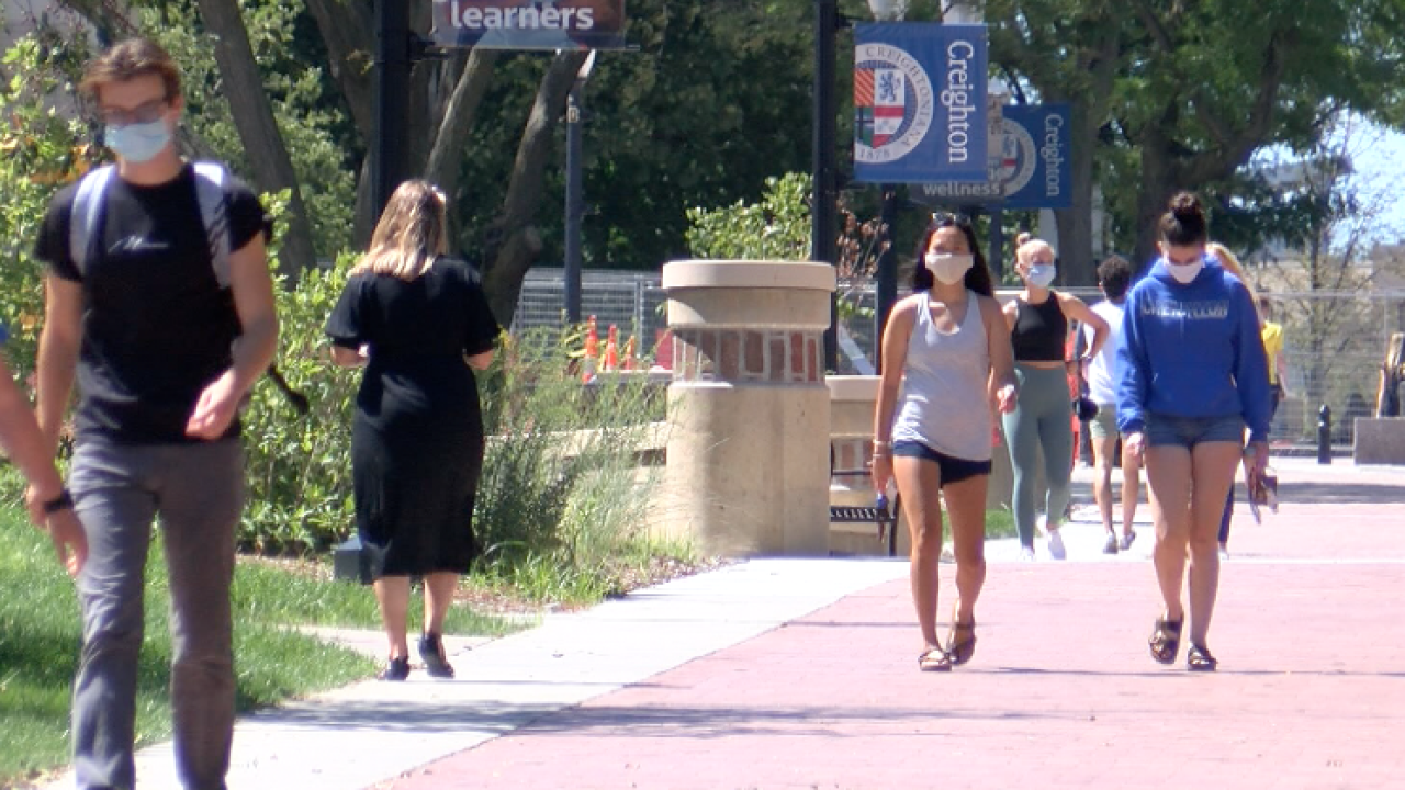 creighton university masks campus students