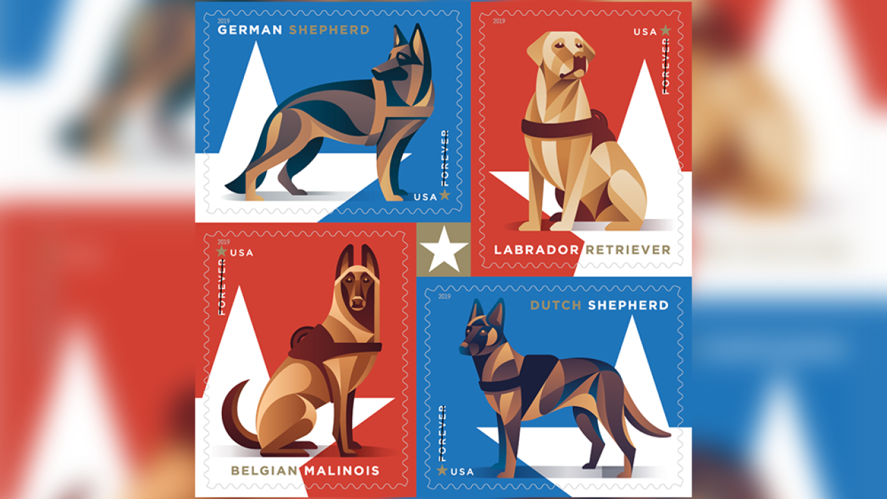 New USPS stamps honor dogs of the military