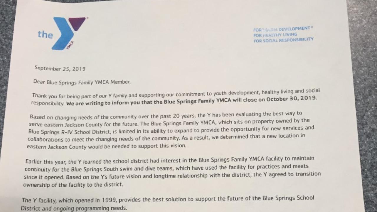 YMCA letter
