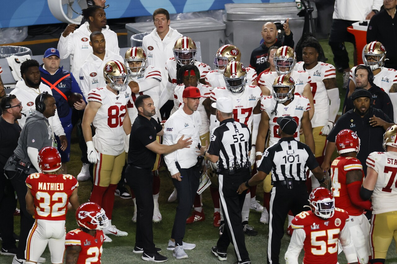 San Francisco 49ers head coach Kyle Shanahan reacts to call in Super Bowl LIV