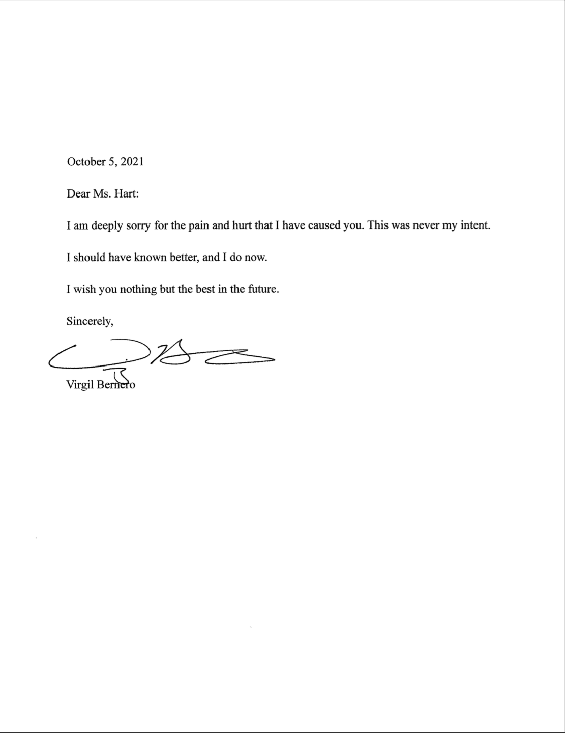 The settlement included this apology letter from Bernero.