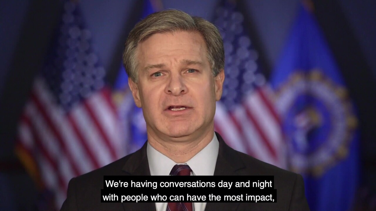 FBI director 'angry' over shutdown in video for workers