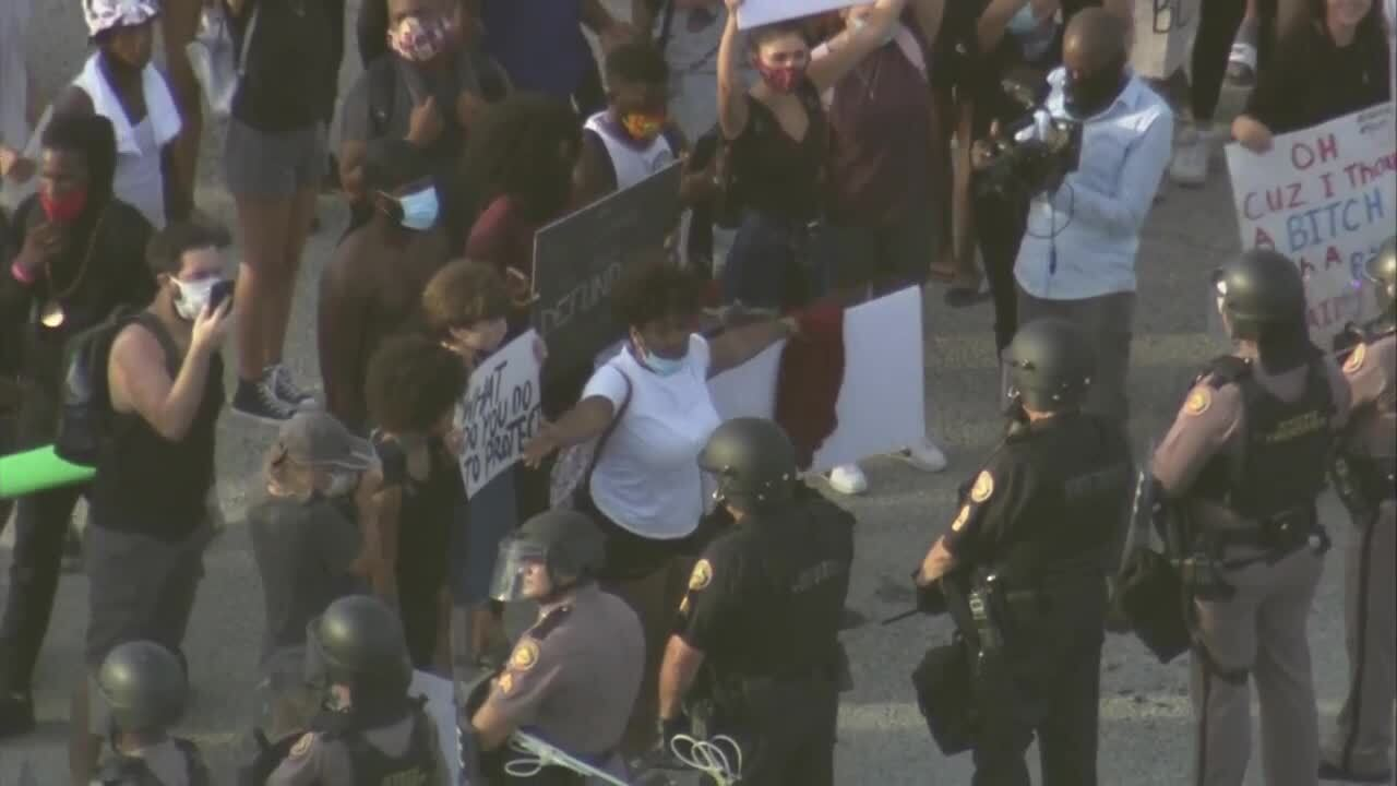 Protester yells at deputies and troopers blocking path on I-95 in West Palm Beach