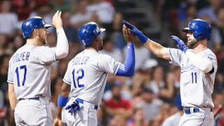 Kansas City Royals v Boston Red Sox Bubba Starling Hunter Dozier Jorge Soler