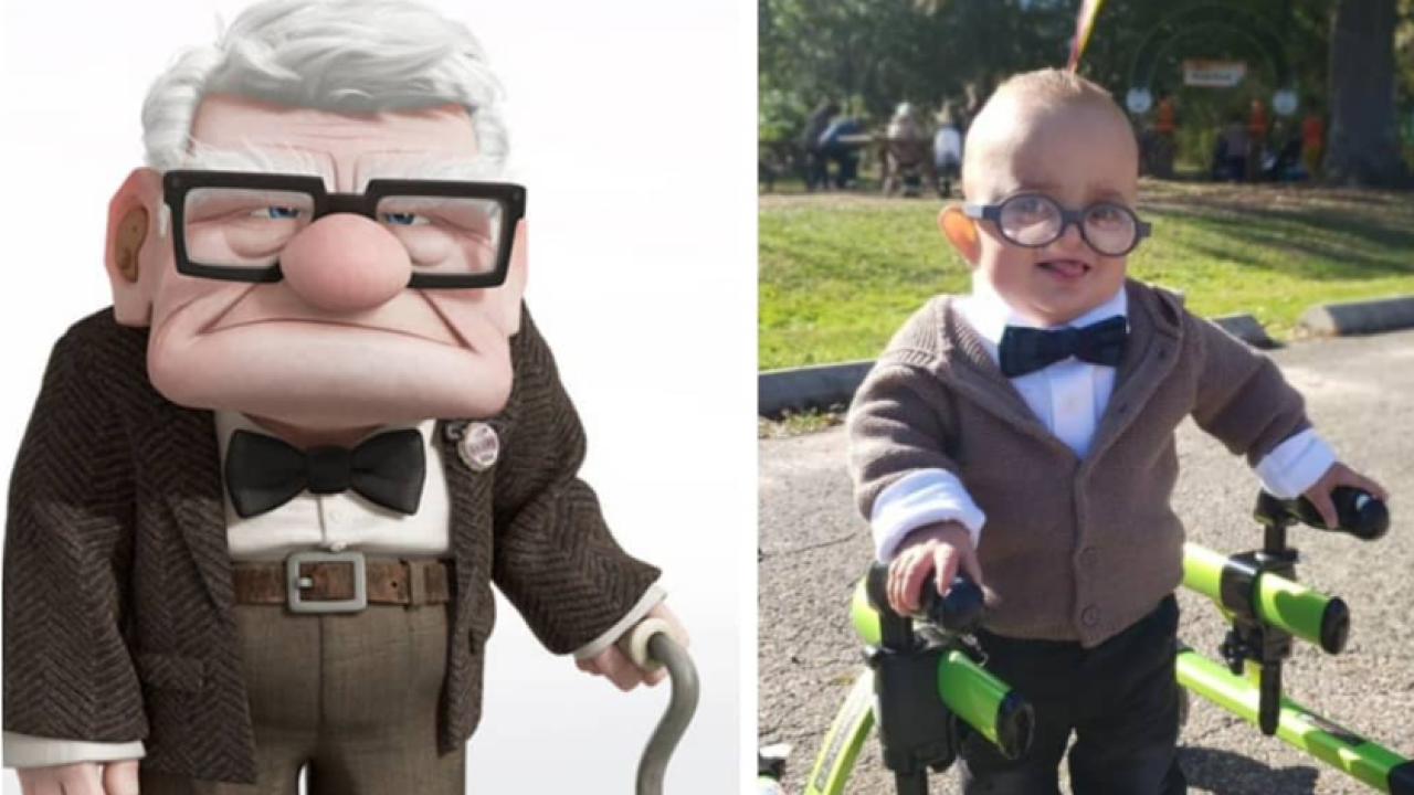 Toddler with cerebral palsy takes Halloween to the next level with his 'Up' costume