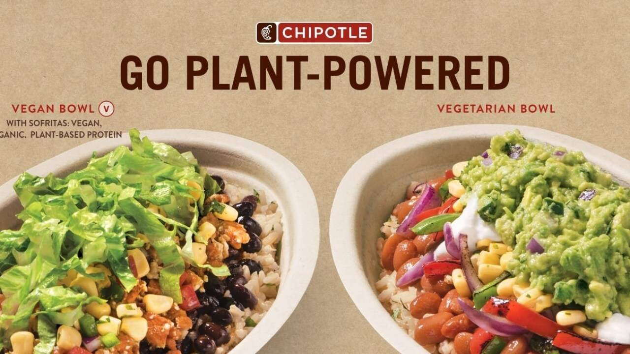 Chipotle introduces vegan and vegetarian bowls