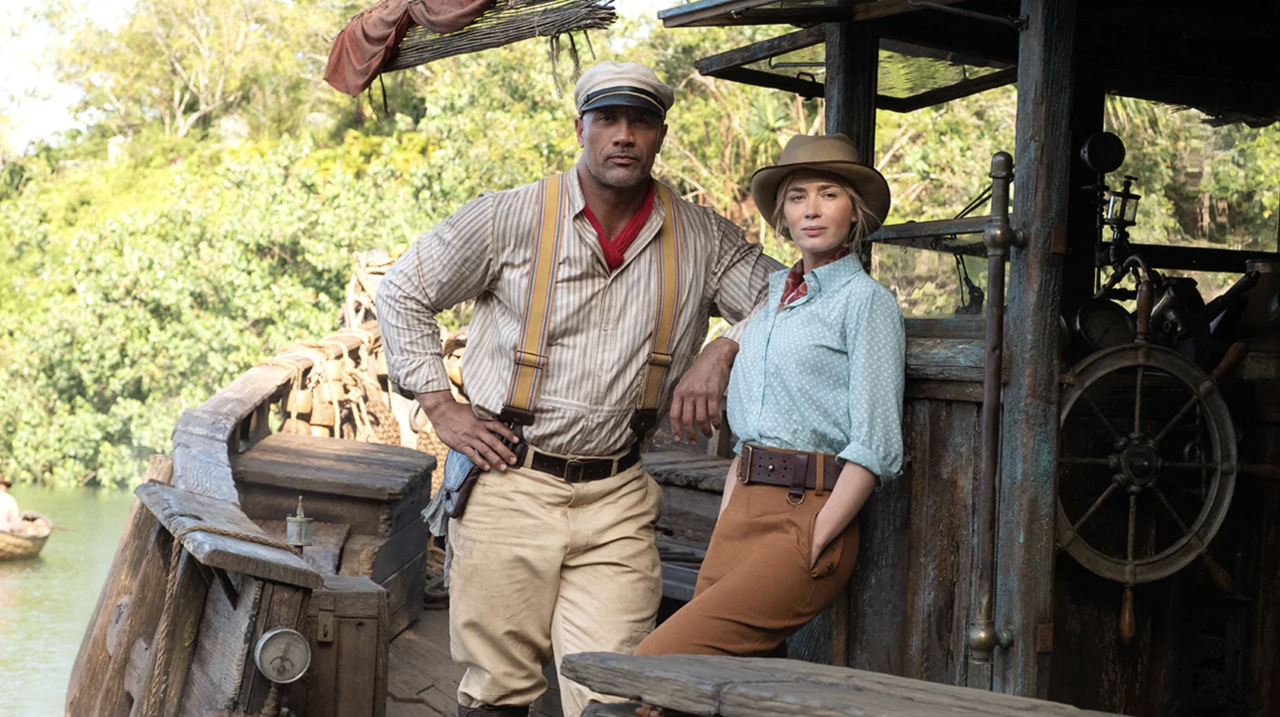 Dwayne 'The Rock' Johnson and Emily Blunt in 'Jungle Cruise' movie promotional image