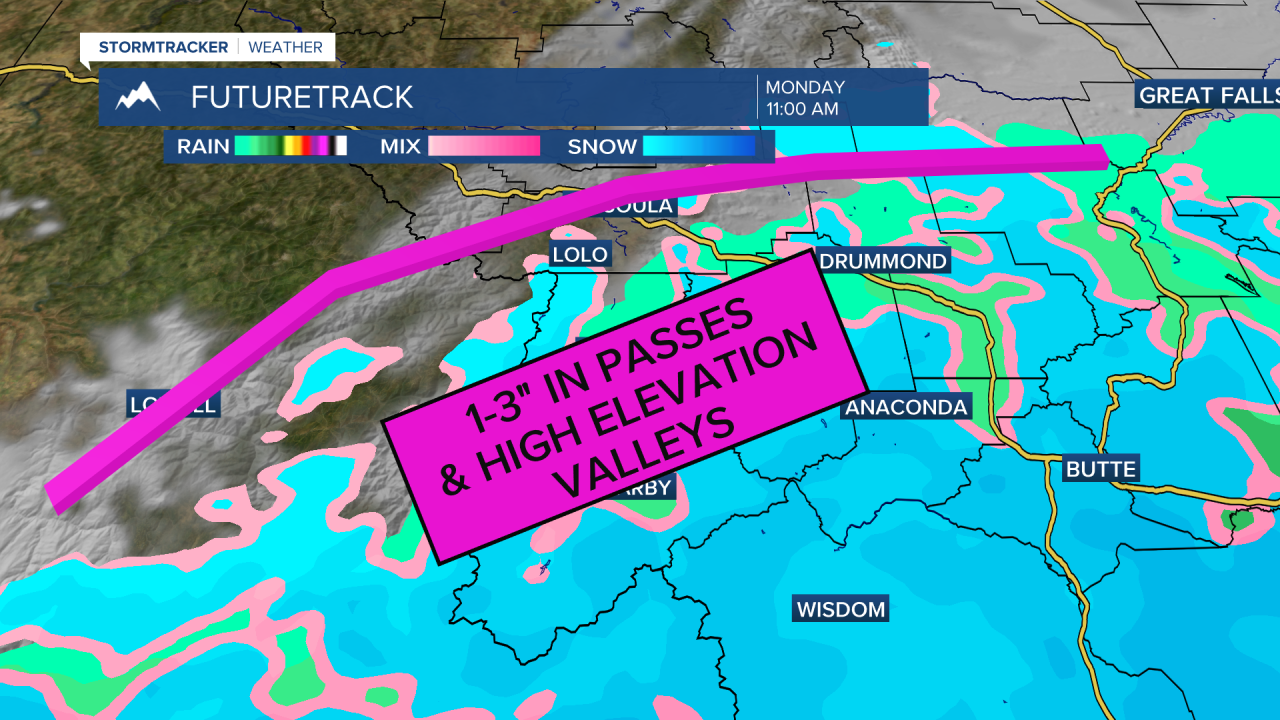 Passes and high elevations in southwest expecting snow Monday night