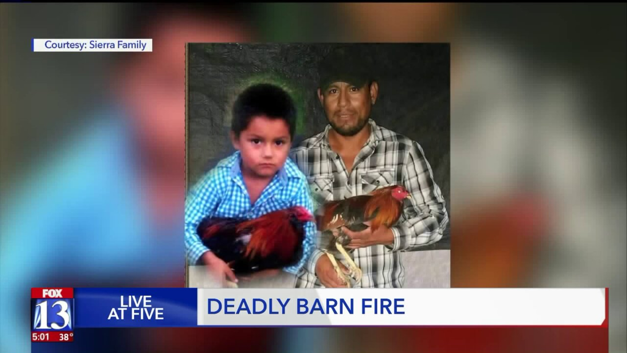 Family members say father and 9-year-old son died together in stall during Provo barnfire