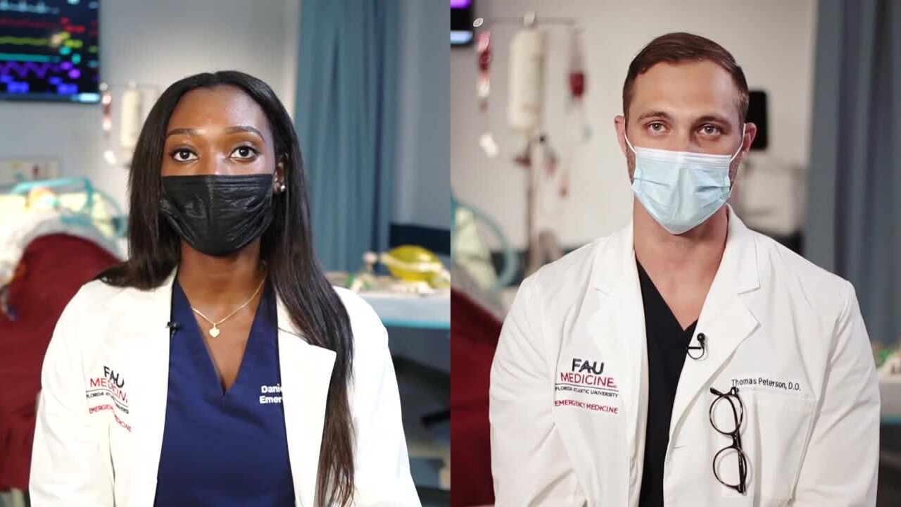 Dr. Daniella Lamour and Dr. Thomas Peterson, FAU School of Medicine residents