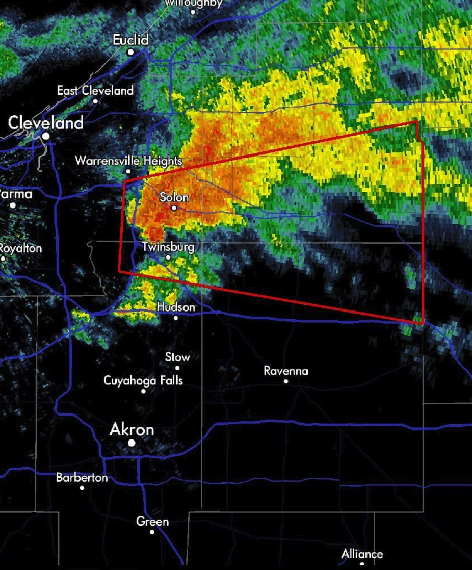 Tornado warning issued for several counties in Northeast Ohio