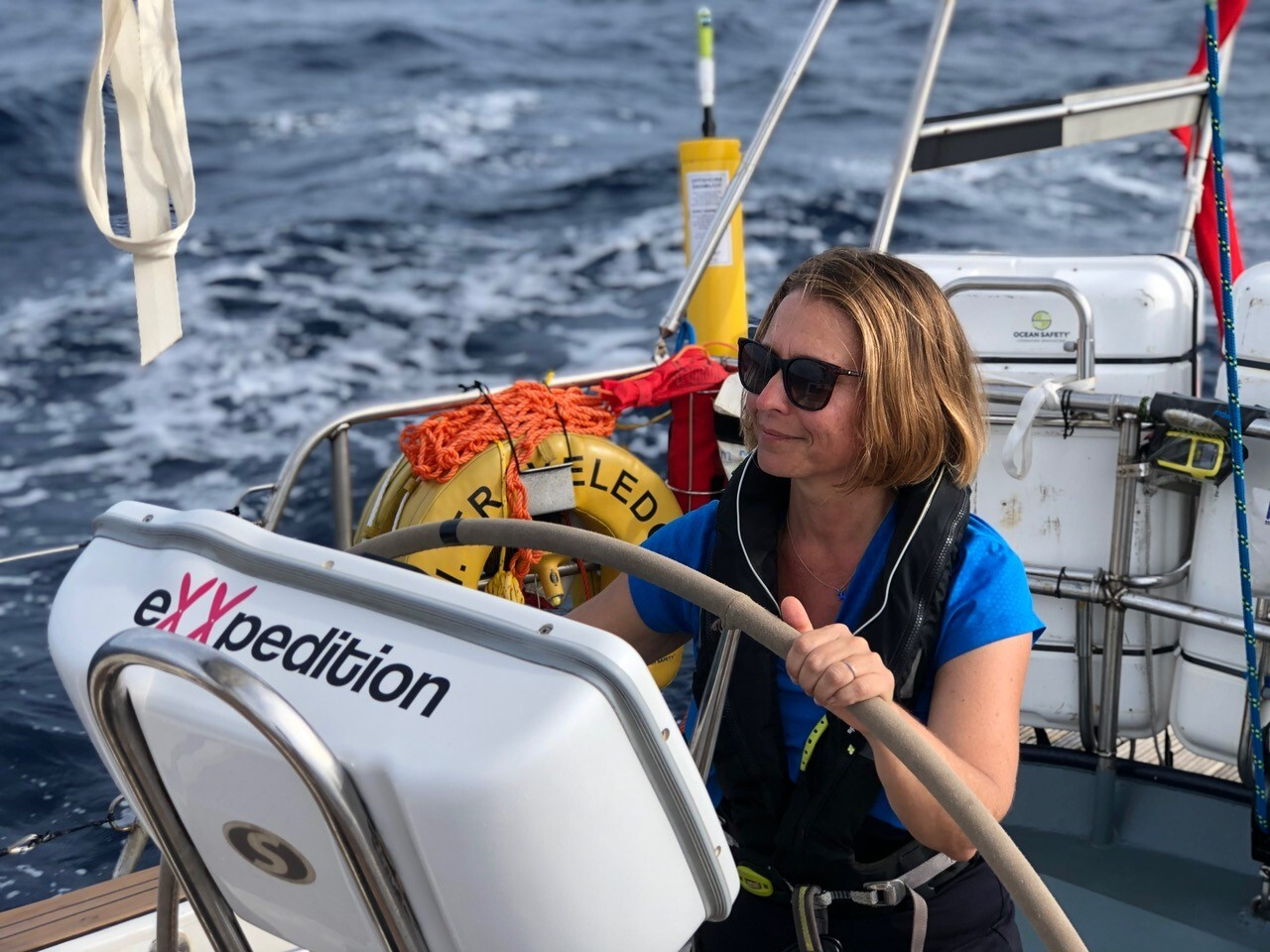 CEO and Co-Founder Lindsey McCoy aboard a plastic research sailing vessel
