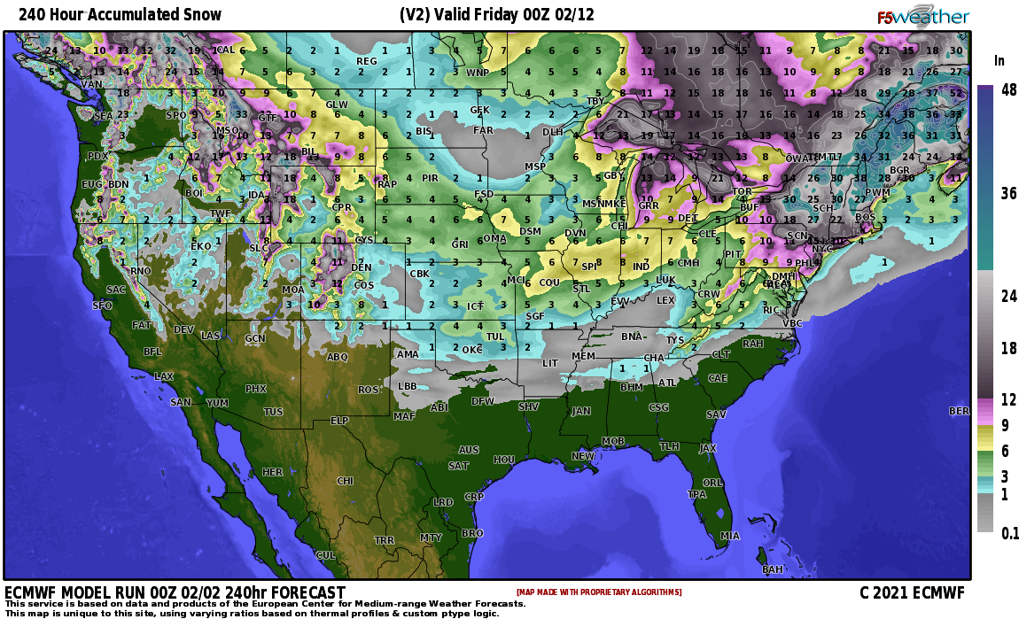 Snow Forecast From European Model (Next Ten Days)