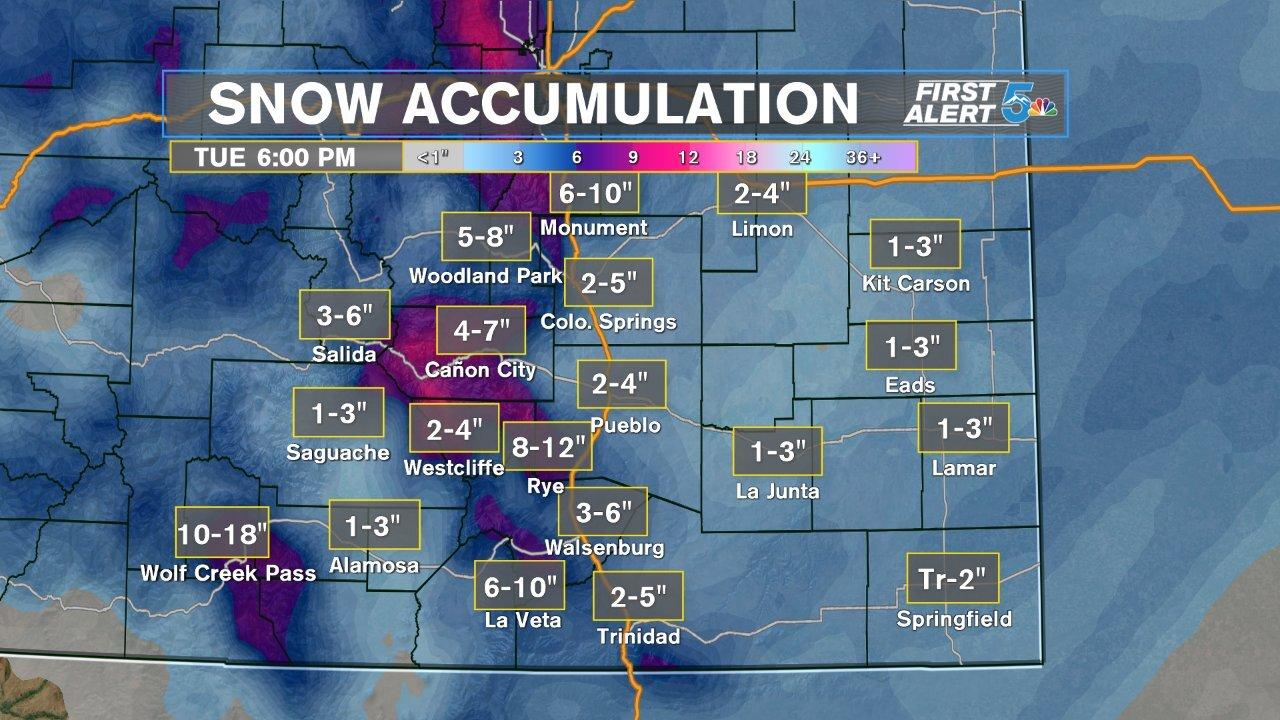 Snowfall forecast for Southern Colorado
