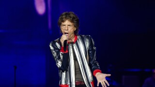 Mick Jagger, lead singer of Rolling Stones, performs during St. Louis concert in 2021