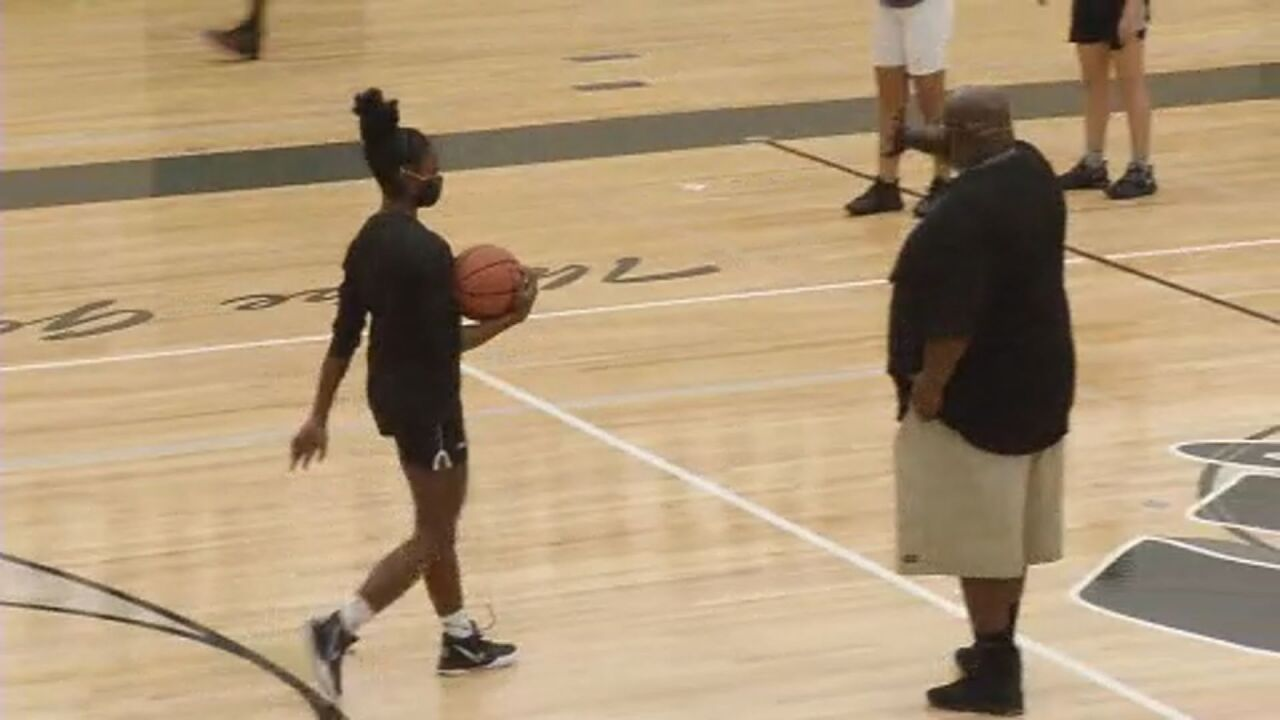 Amyah Moore-Allen during a Harrison girl's basketball practice