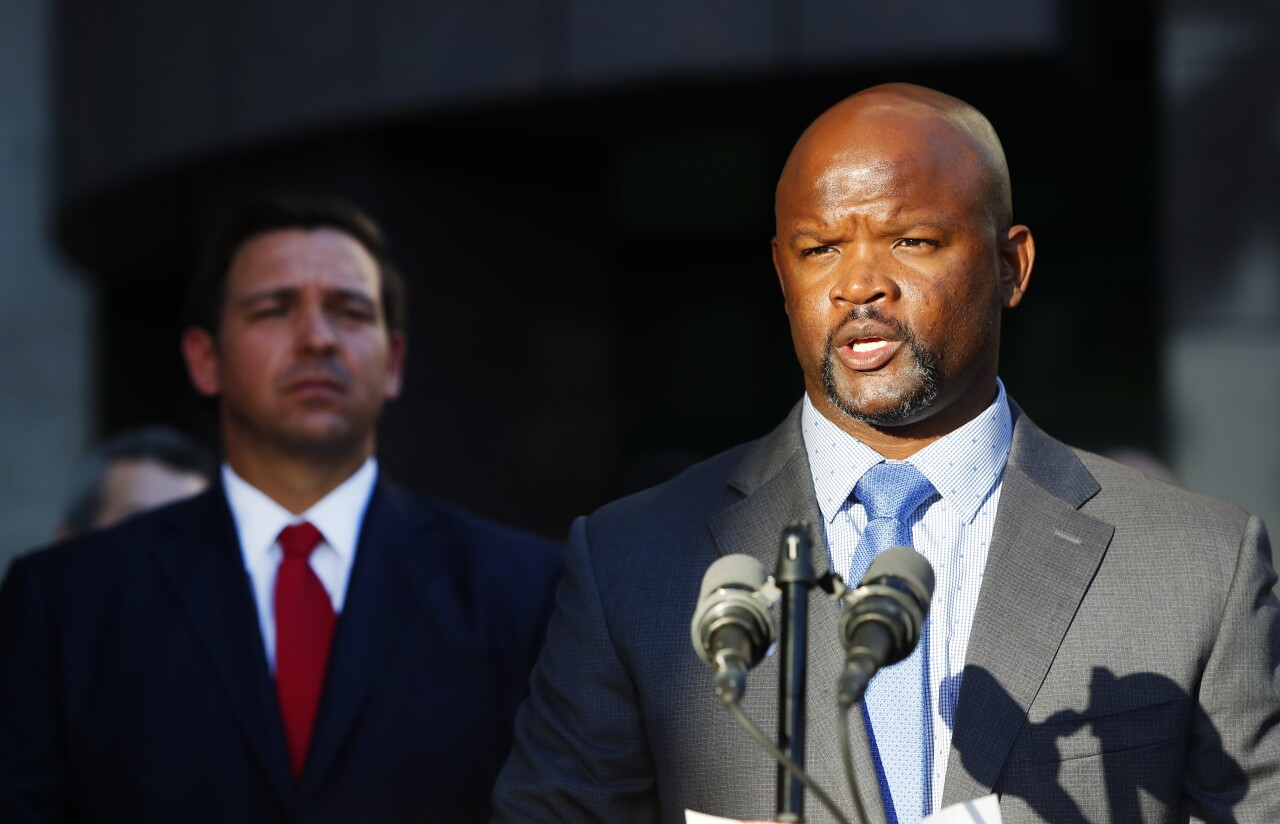 Gregory Tony speaks after being introduced as sheriff by Gov. Ron DeSantis