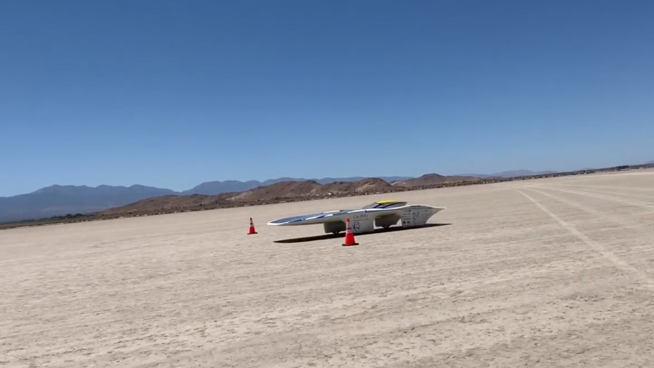 Cal Poly students test solar car speed. Photo Courtesy: Cal Poly