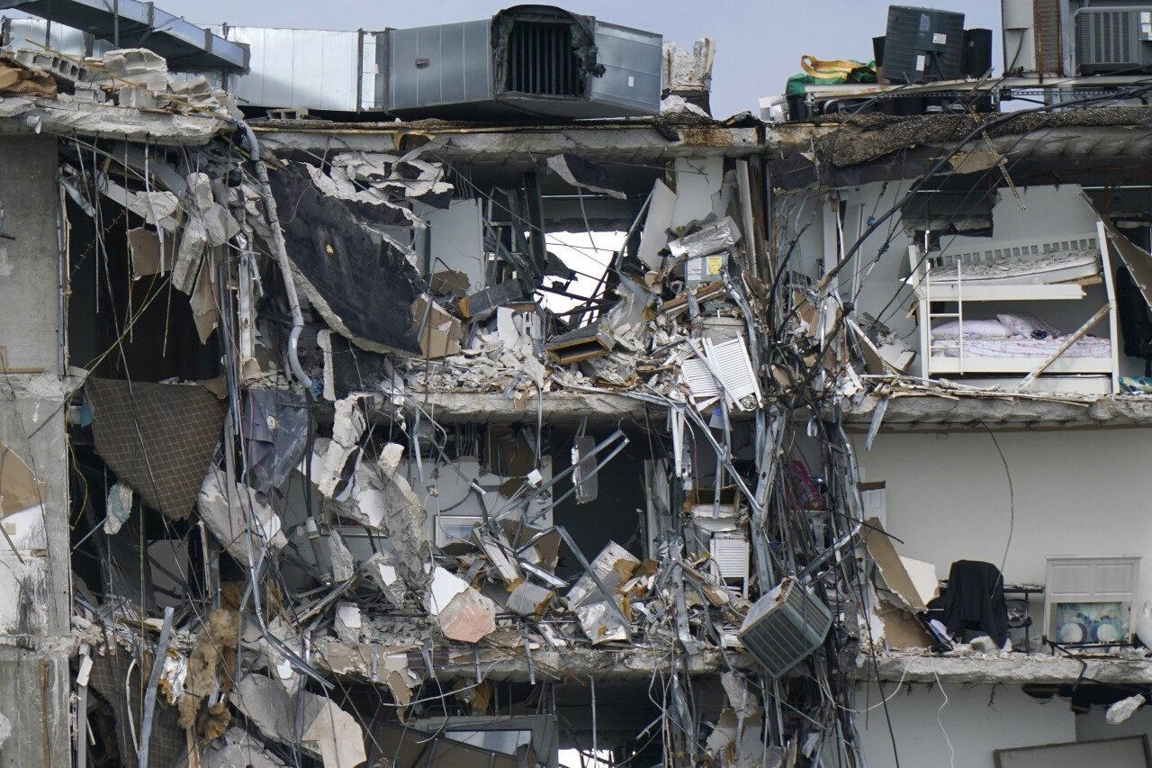 bunk bed and other personal belongings exposed after partial collapse of Champlain Towers South condo building, June 28, 2021