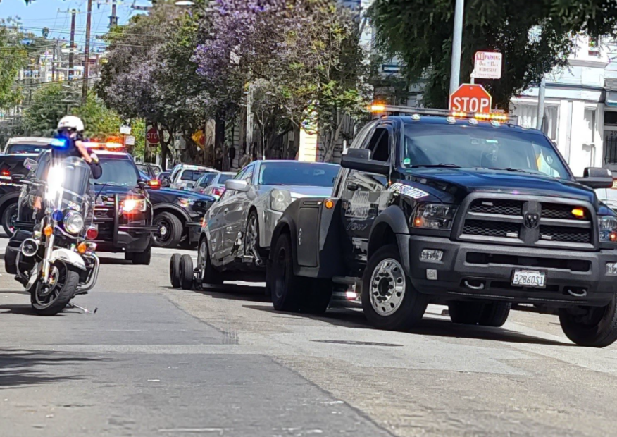 Car Used in Illegal Sideshow Event Towed, San Francisco, August 4, 2021