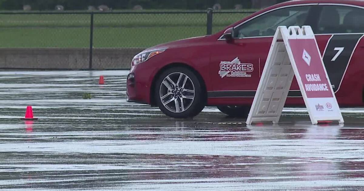 Teens take part in advanced driving course to learn safe driving practices on the road