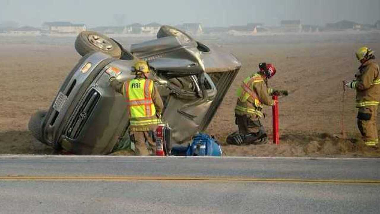 One injured after rollover crash on Rosedale Hwy