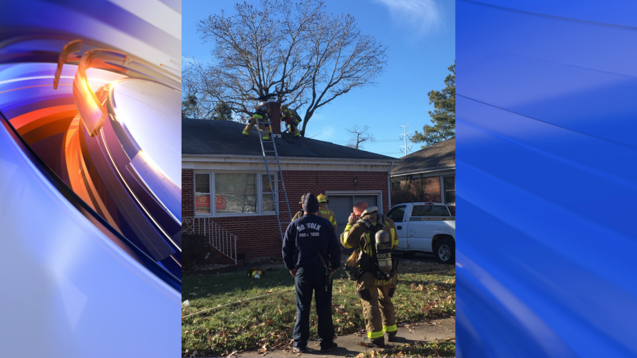 Firefighters respond to a Norfolk house fire surrounding a chimney