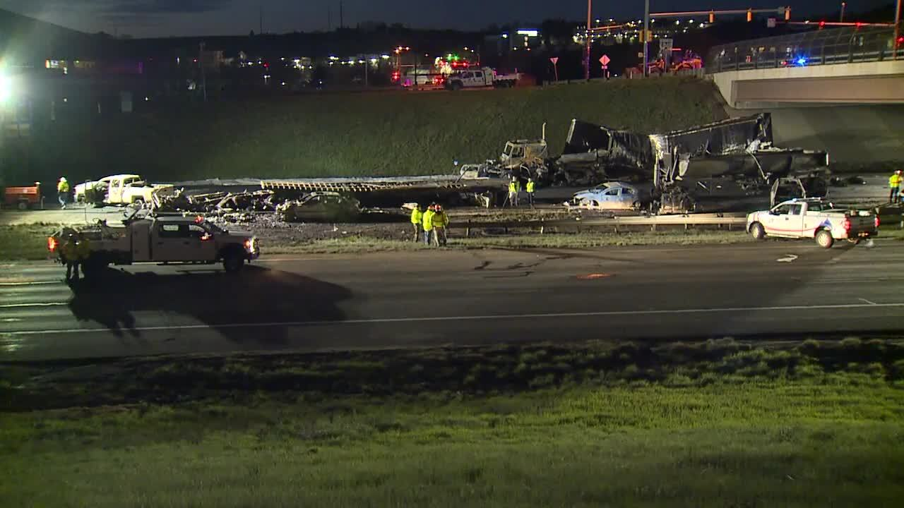 Friday morning look at I-70 fiery, deadly crash in Lakewood