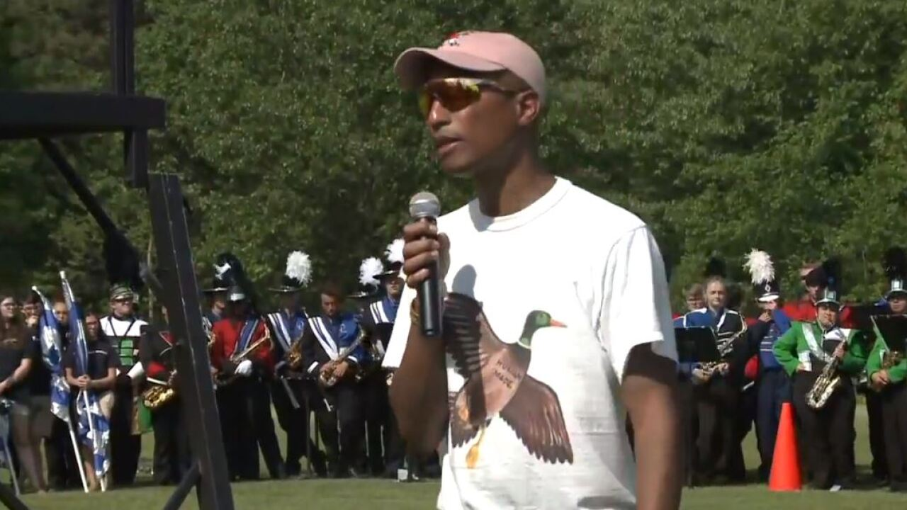 Watch: Pharrell Williams pays visit to alma mater, Princess Anne HighSchool