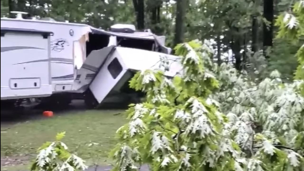 Destroyed camper West Branch State Park