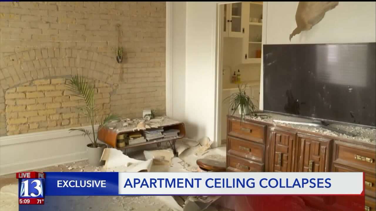 Ceiling collapses inside Salt Lake City apartment building