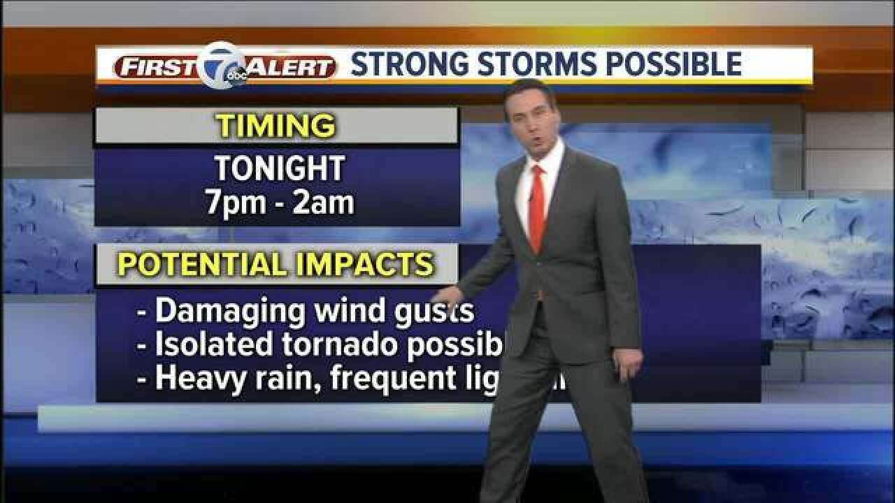 FORECAST: Rain today, strong storms poss.tonight