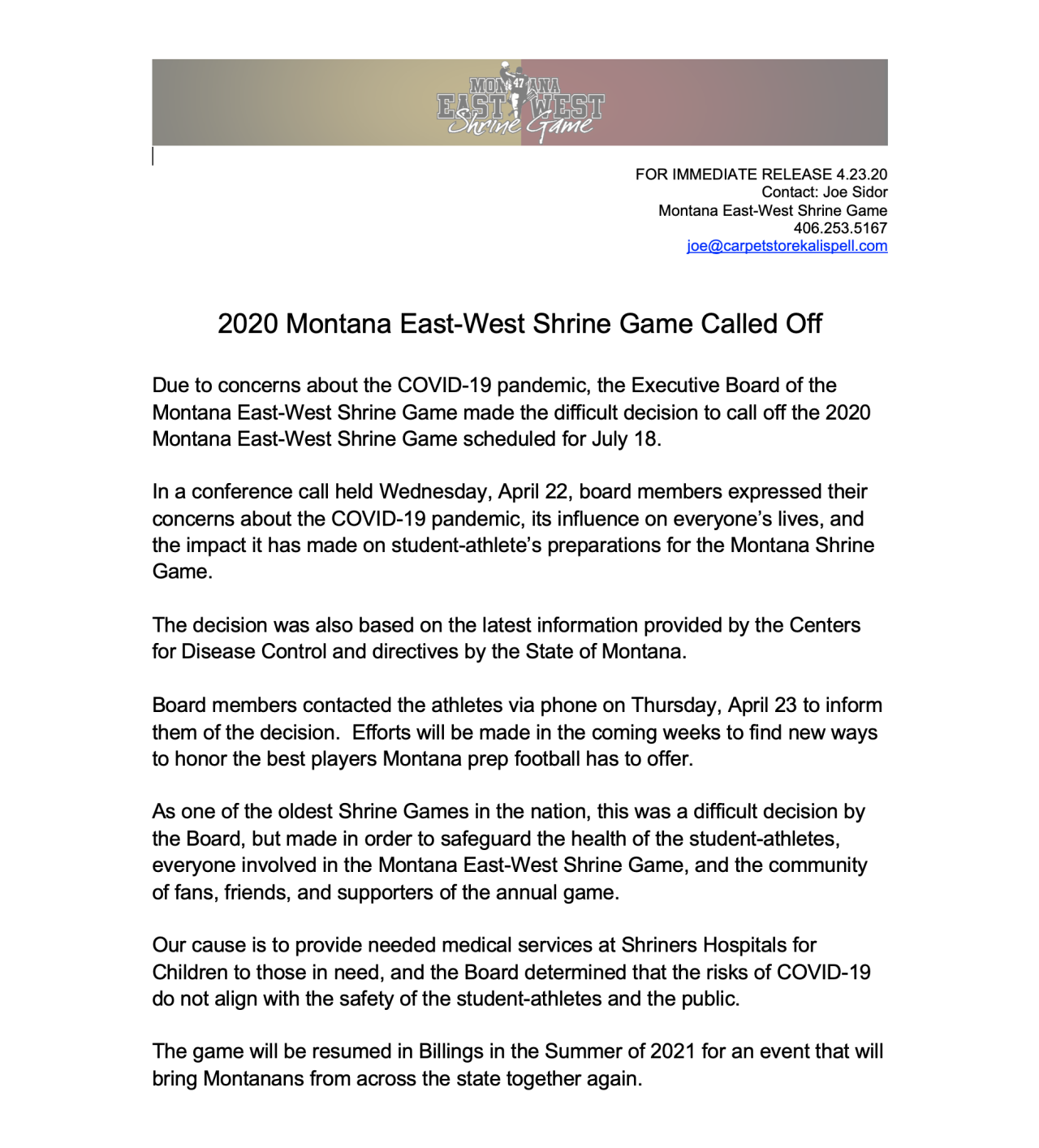 2020 Montana East-West Shrine Game press release