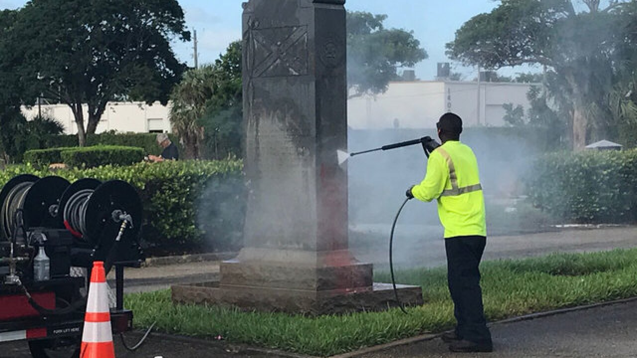 Confederate monument vandalized in West Palm Beach cemetery; monument to be removed