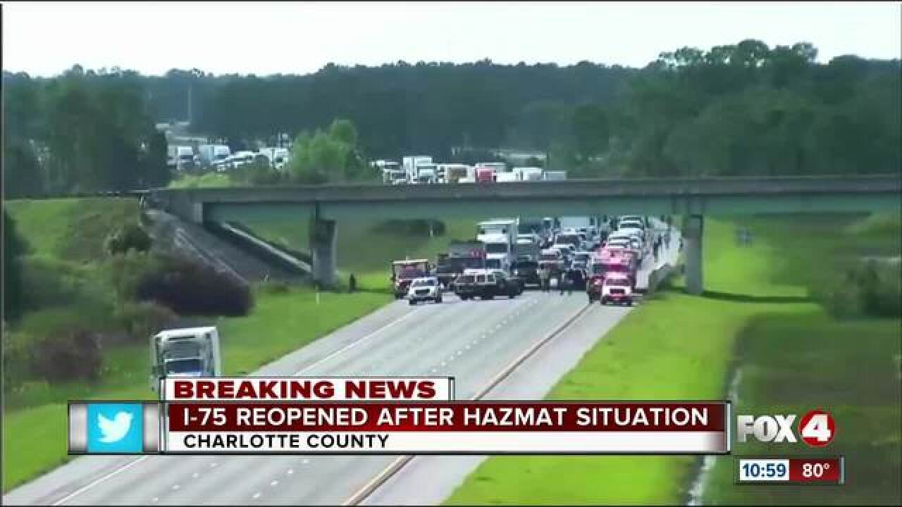 Hazmat investigation closes I-75 in Charlotte Co