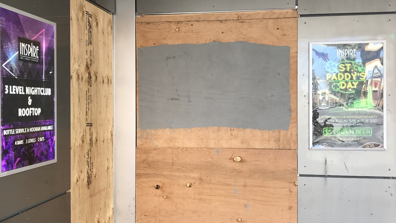 Boarded up businesses in Downtown Las Vegas