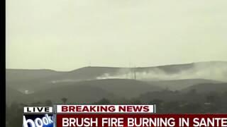 Brush fire burning in Santee