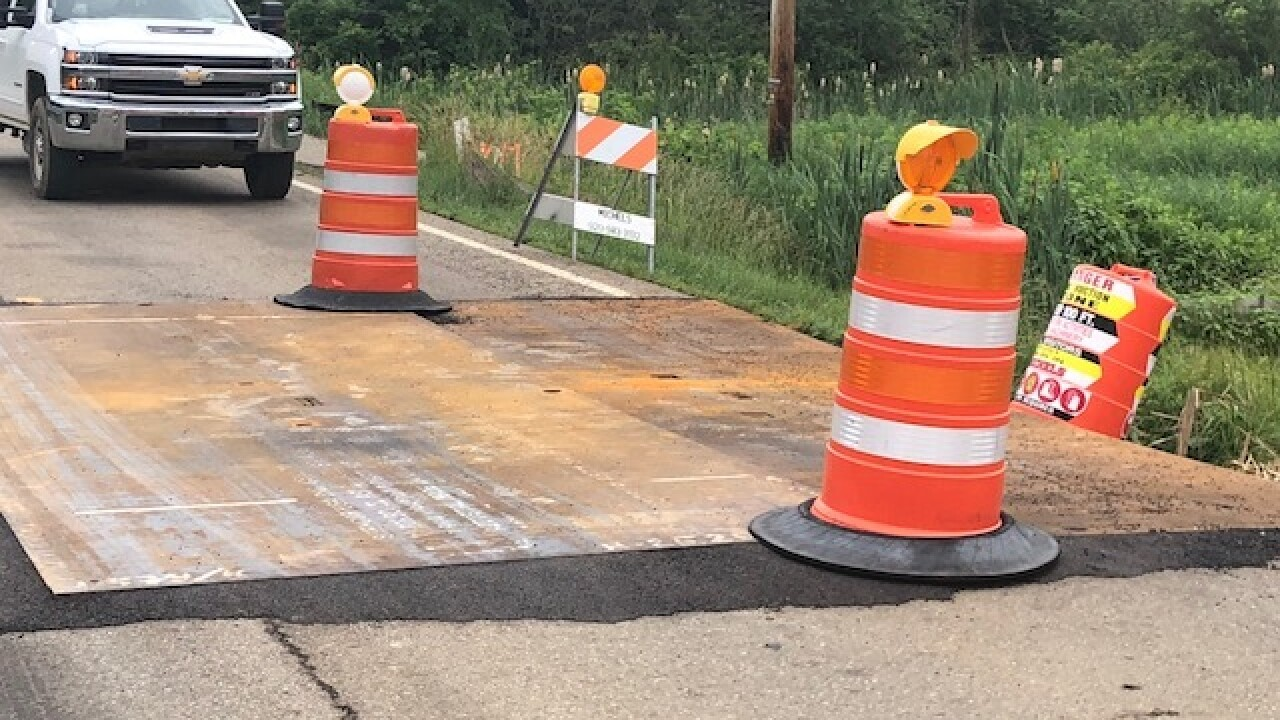 NEXUS pipeline construction puts hole in road