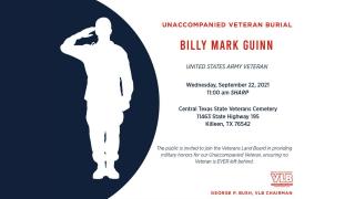 Unaccompanied Veteran Burial: Billy Mark Guinn