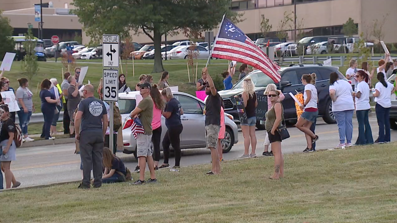 Health care workers protest vaccine mandate by local hospitals.png