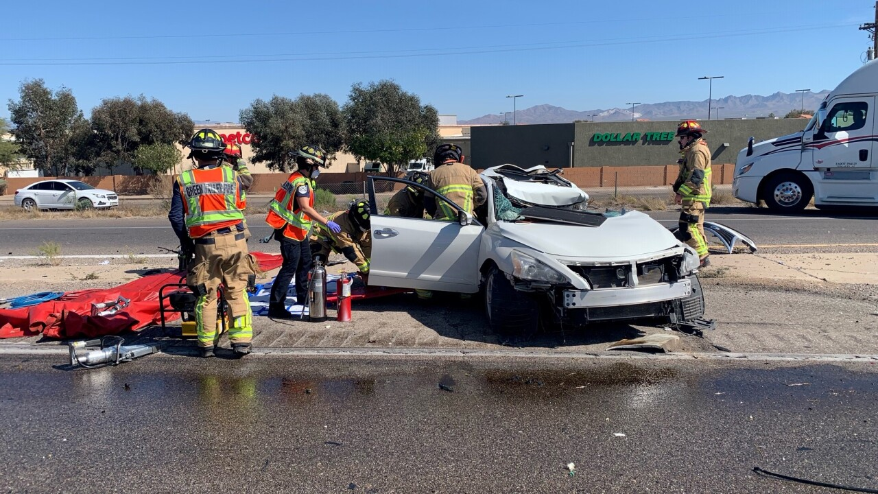 Two people died in a wreck that shut down northbound Interstate 19 Thursday near Sahuarita Road.