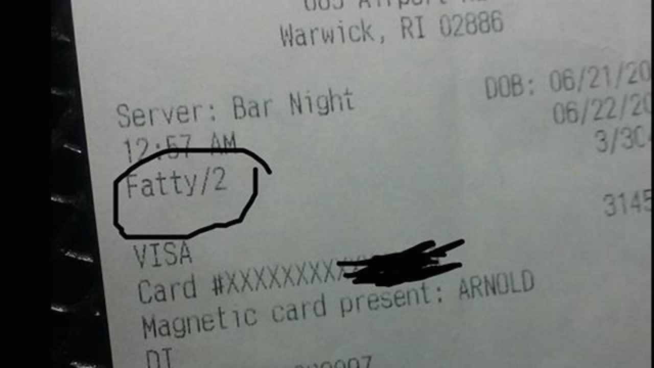 Server fired for calling customer 'fatty' on receipt