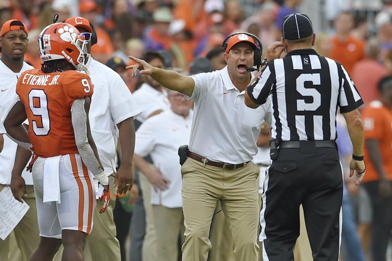 Clemson Tigers head coach Dabo Swinney argues call against Florida State Seminoles in 2019