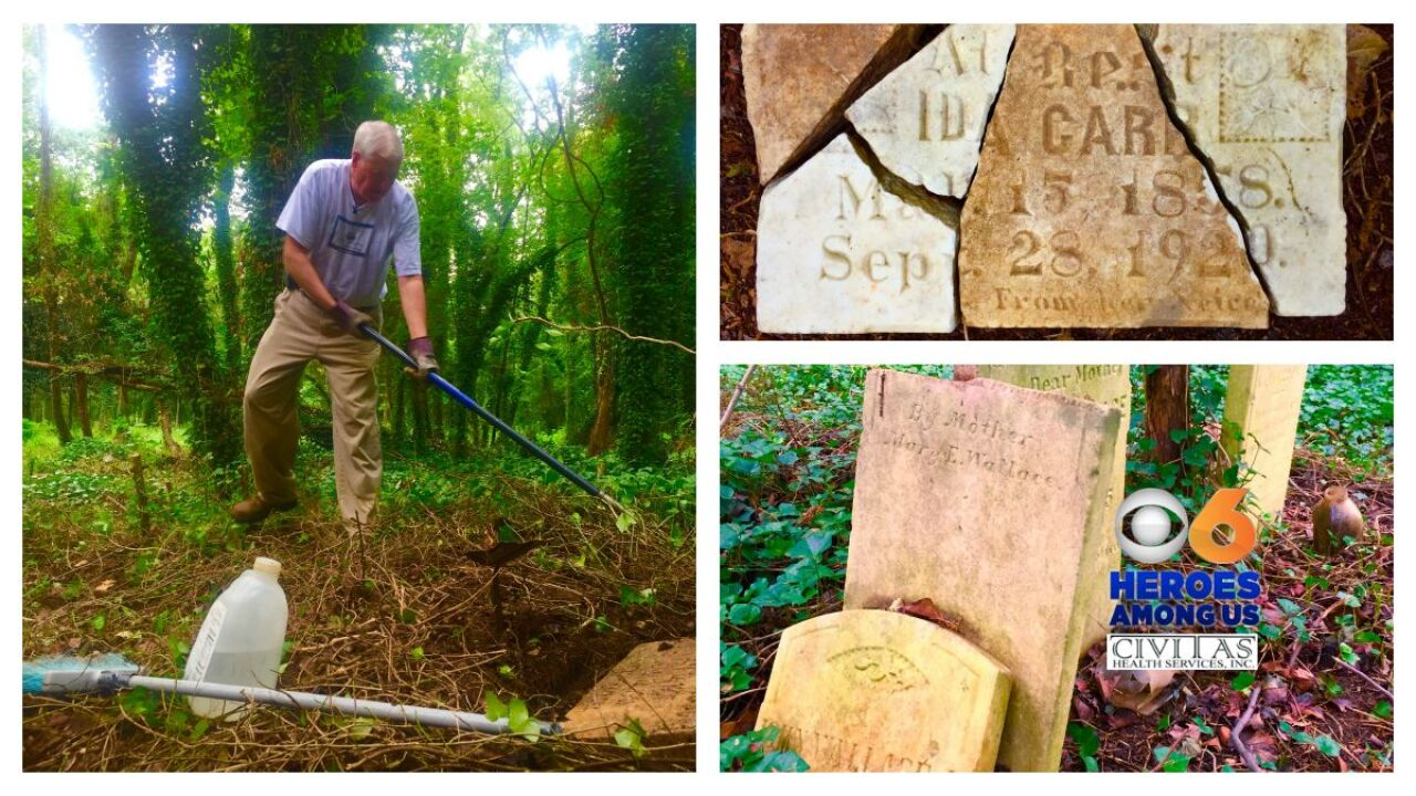 Hero cleaning neglected East End Cemetery uncovers dozens of graves