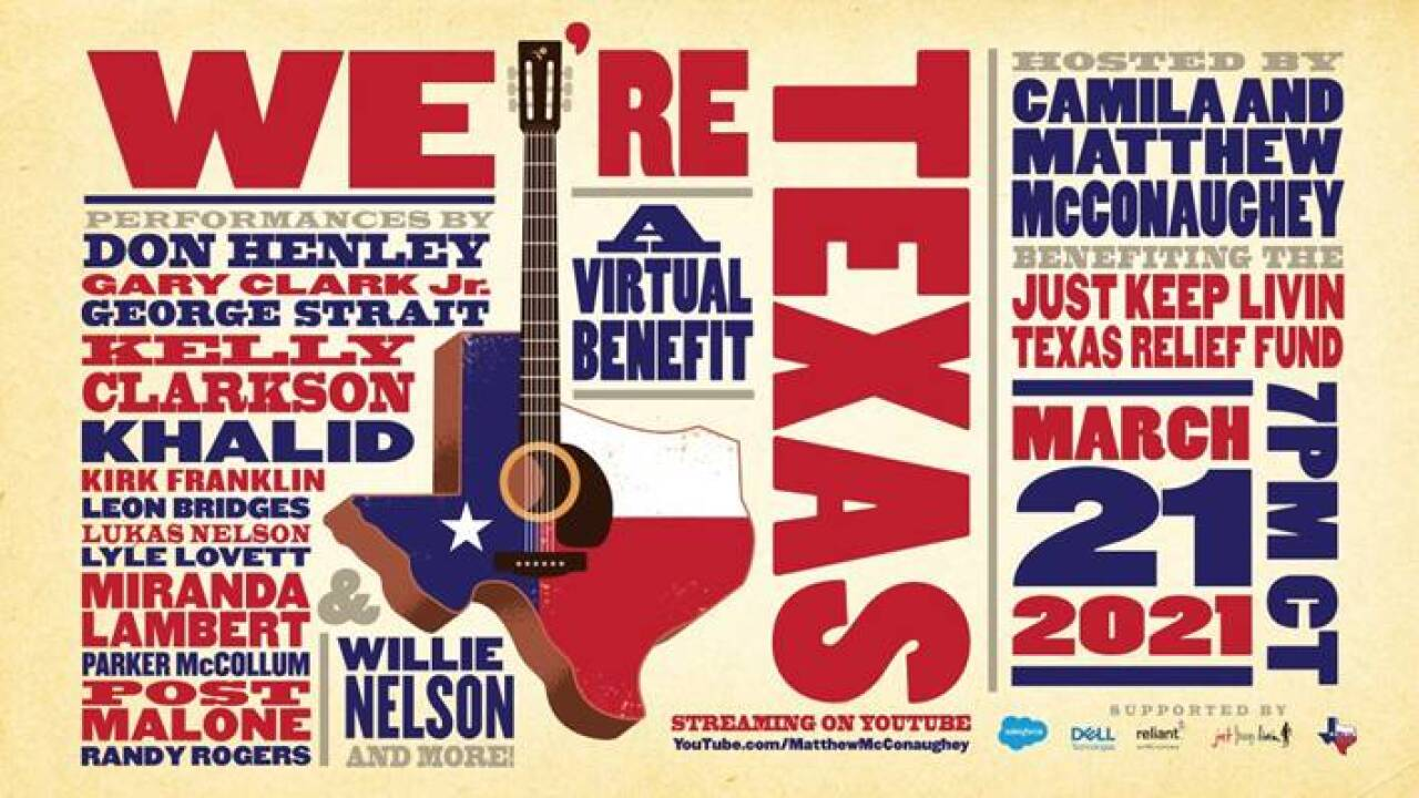"""We're Texas"" Benefit Concert Lineup 2021"