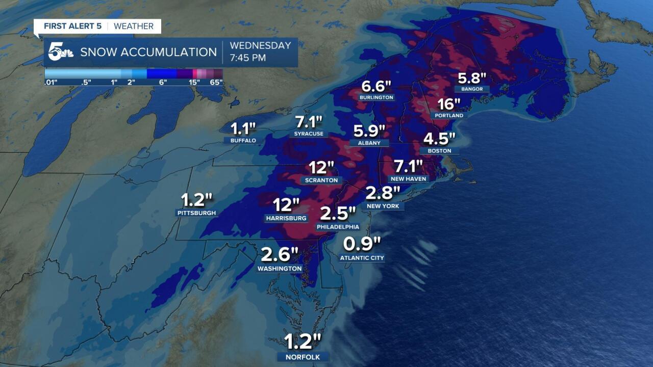 Northeast snow accumulation forecast